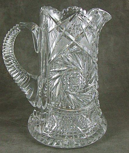 "3: Brilliant period cut glass pitcher, thick blank, 9"""