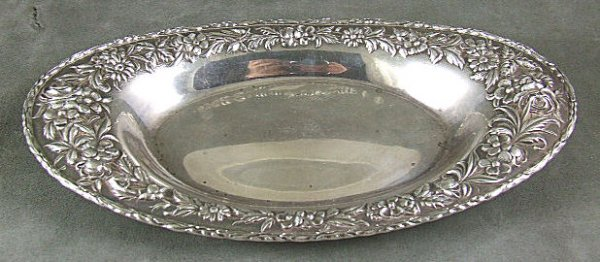 4: Kirk & Son Sterling silver repousse bread plate, hea