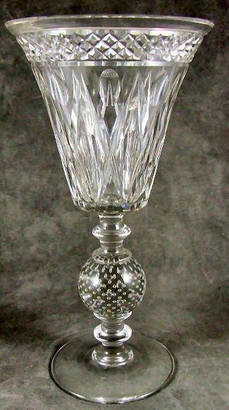 5: Cut glass vase w. controlled bubble base, ground pon