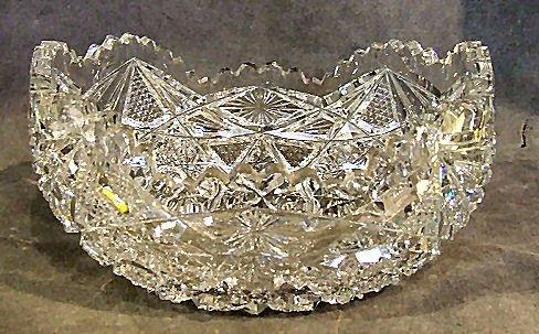 """16: Brilliant period cut glass oval bowl, 8""""L., 5.5""""W.,"""