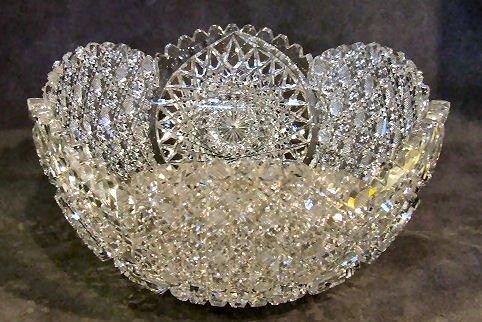 """17: Intricate Brilliant cut glass bowl 9""""W., 4.5""""H. Sev"""