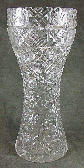 18: Brilliant period cut glass vase, Daisy & Button pat