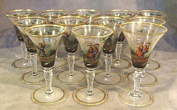 20: 12 Translucent enameled sherry glasses, scene with