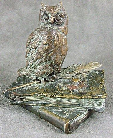 23: Signed Bergman mechanical bronze owl paperweight #7