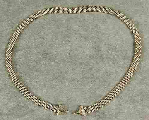 108: 14K Gold Victorian mesh chain with engraved ends,