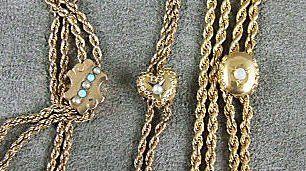 110: Three Victorian slide chains w. 10K gold slides, g