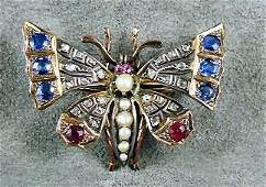 118 Victorian 10K gold butterfly pin with silver color