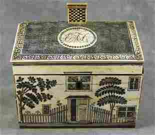 228: 18th. C. ivory sewing box, house shaped India expo