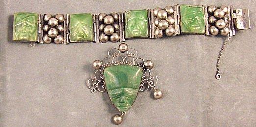 1: Mexican sterling silver bracelet & brooch each set w