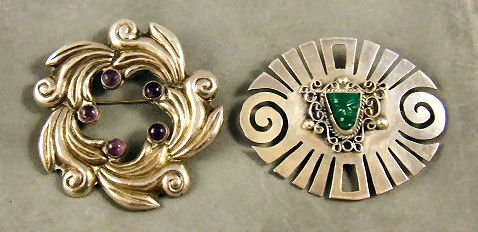 2: 2 Mexican sterling silver brooches, one set with ame