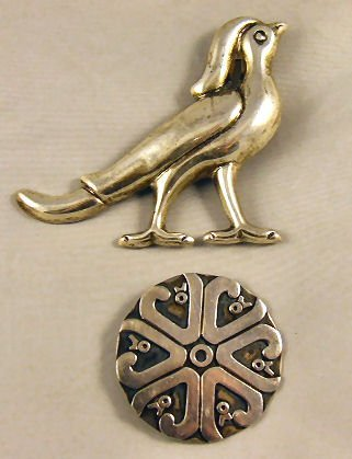 6: 2 Mexican sterling silver brooches, large bird brooc