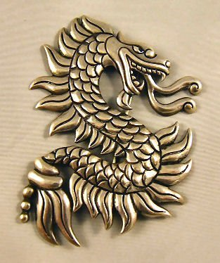 """7: Sterling silver Mexican dragon brooch marked """"365 Lo"""