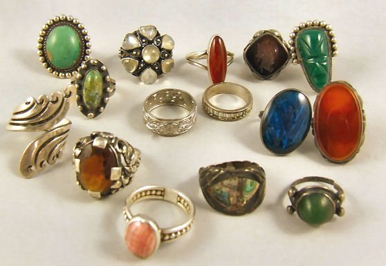 8: Lot of 15 Misc. sterling silver rings, most Mexican.