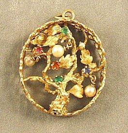 13: Large14K yellow gold pendant, tree & leaf design se