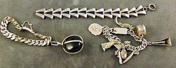 21: 3 sterling silver bracelets, heavy Mexican sterling