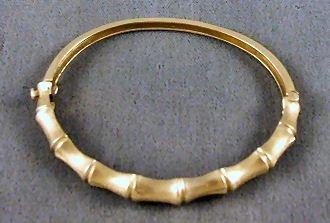 24: 14k gold, bamboo style, bangle bracelet, 13.2 grams