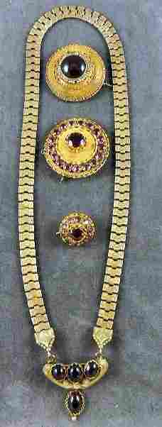 40: Lot of Victorian jewelry, 3 round pins w/ stones, (