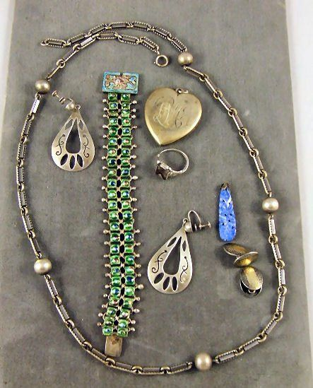 42: Silver & sterling jewelry lot, Chinese enameled bra