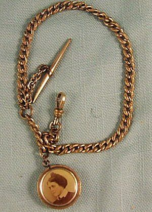 377: Gold filled Victorian watch chain, w/ photo fob, 1
