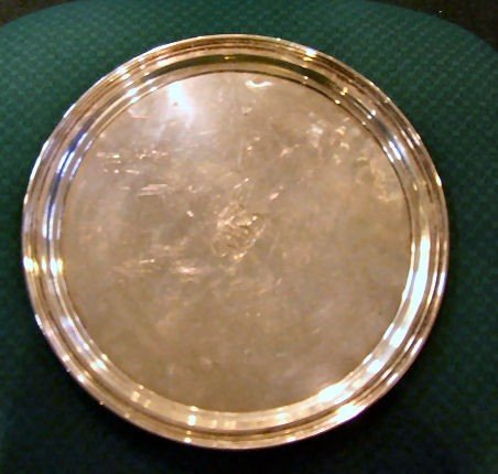 """19: Tiffany & Co. Makers sterling silver 12"""" tray, mono"""