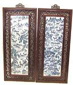 202: Pair Chinese porcelain plaques decorated with deer