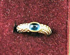 6: 14K yellow gold & blue tourmaline ring, excellent co
