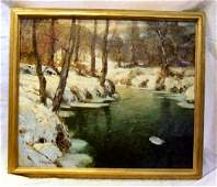 """233: George Ames Aldrich oil painting on canvas, 30"""" X"""