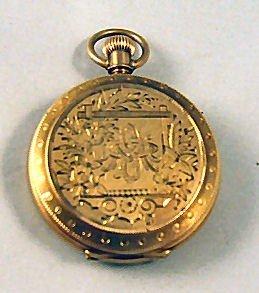 11: A W Co. 14k gold Waltham Victorian pocket watch, hu