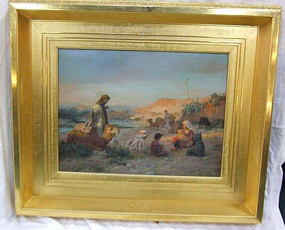 238: Jose Alsina oil painting on canvas, desert scene,