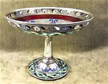 237: Russian enamel .84 Silver Guilloche & plique a