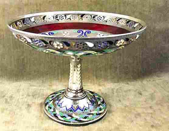 Russian enamel .84 Silver Guilloche & plique a