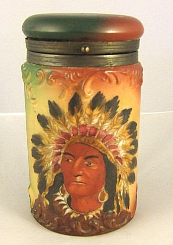 24: Handle Ware cigar humidor with American Indian in h