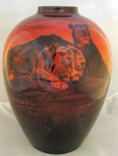 106: Large Royal Doulton Flambe vase with lions, signed