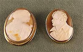 162 2 Victorian era shell cameos one of two ladies in