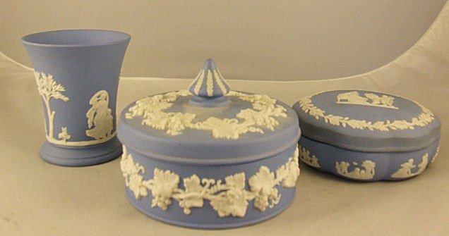"1: 3 pieces Wedgwood blue Jasperware, 4"" vase, 5"" dia."