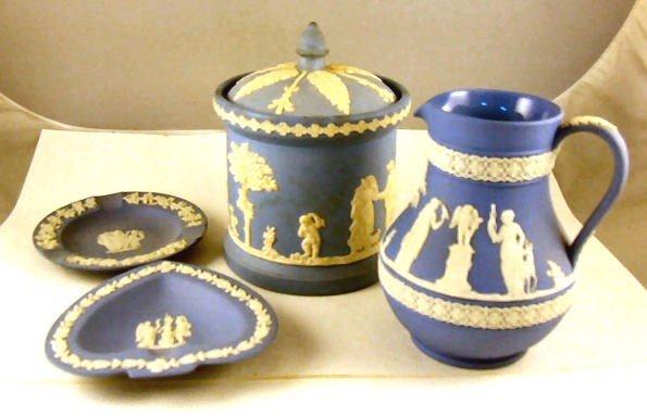 "2: 4 pieces blue Jasperware, Wedgwood  5"" pitcher, two"