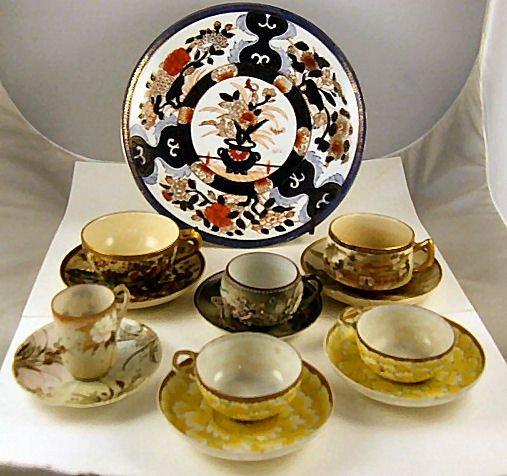 """5: Oriental porcelain lot, 10.25"""" vase, 2 Satsuma cups"""