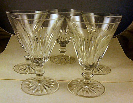 """14: 5 Waterford crystal goblets, 5.5"""" high, 4"""" wide at"""