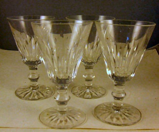 """15: 4 Waterford crystal wine glasses, 5"""" high, 3"""" wide"""