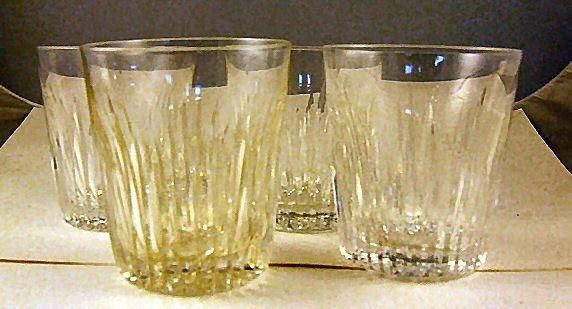 "16: 4 Waterford crystal rocks glasses, 3.5"" high, 3 1/8"