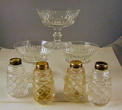"""18: 3 Waterford crystal low sherbets, 3.5"""" high and 4 s"""