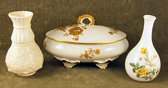 """23: 3 piece porcelain lot, Limoges tureen 7.5"""" long, 5"""""""