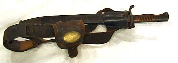 50: German WWI bayonet with frog, belt & box. Gott Mit
