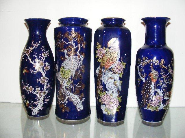 188: 4 Dark blue Japanese vases, 1 is signed Yamato