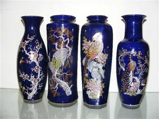 188 4 Dark Blue Japanese Vases 1 Is Signed Yamato