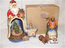 217 Jim Shore Christmas figures Santa w Christmas tr
