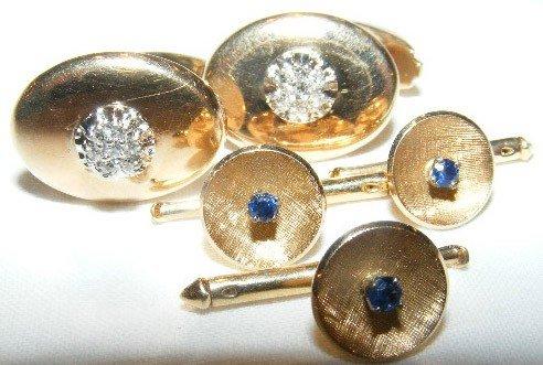 33: 10k & 14k gold cufflinks & buttons. Cufflinks are m
