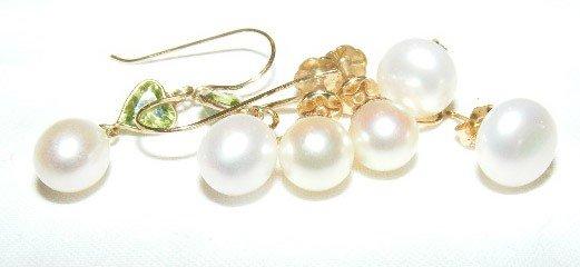 37: 3 pairs of 14k gold pearl earrings. 1 set of screw