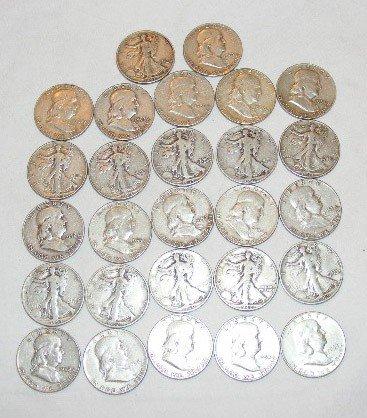 48: U.S. silver coins, 1/2 dollars, Franklin & Walking