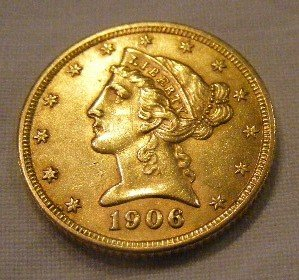 51: 1906 U.S. $5 Liberty Head gold coin